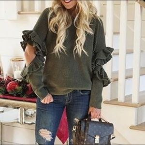 BP ruffle sleeve ribbed sweater elbow cutouts